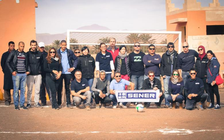 SENER people build a soccer field in Morocco as part of its Corporate Social Responsibility work